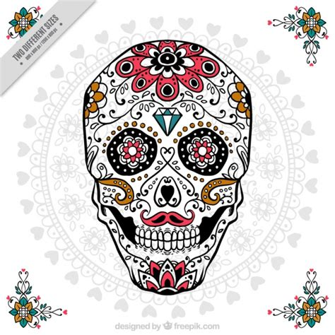 Ornamental Skull For Day Of The Dead Vector Free Download Day Of The Dead Skull Vector