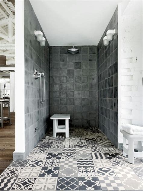 patterned tile bathroom patterned shower room tiles interior design ideas