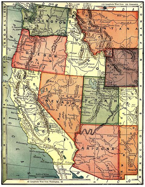 map of western us the usgenweb archives digital map library national maps