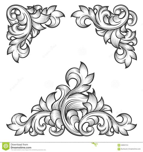 pattern is any decorative motif or design baroque leaf frame swirl decorative design element stock
