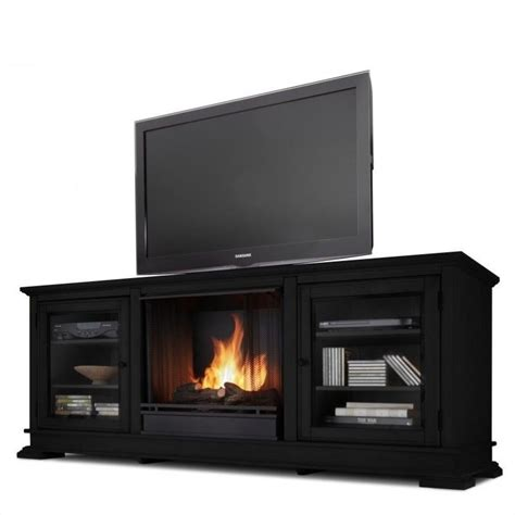 hudson ventless gel fireplace and tv stand in black finish