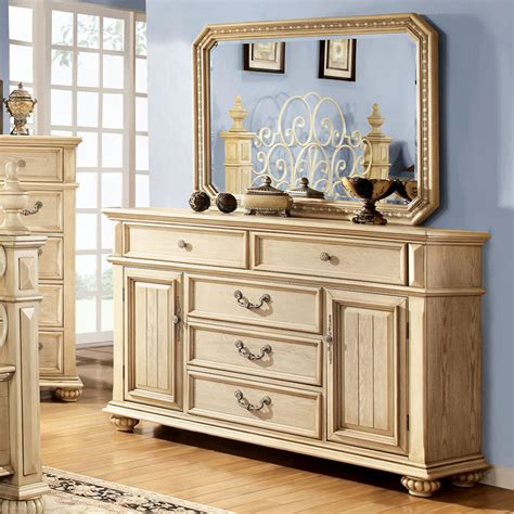 furniture of america pompine antique white dresser with
