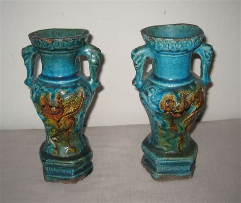 pair of ming dynasty fahua glazed vases from