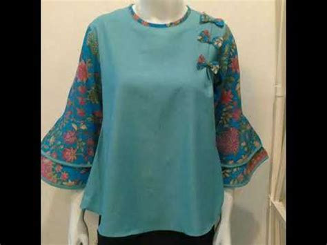 Batik Blouse Tunik Atasan Wanita Anjani baju atasan batik blouse wanita kombinasi polos untuk wanita modern