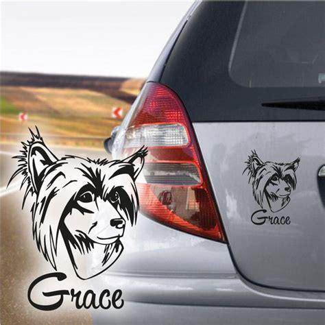 Aufkleber Name Adresse by Chinesischer Schopfhund Autoaufkleber Name Hundeaufkleber