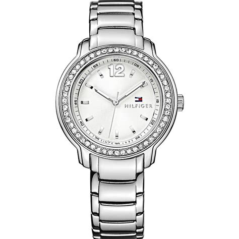 tommy hilfiger silver dial stainlerss steel ladies