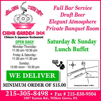 China Garden Willow Grove by China Garden Inn Iv Willow Grove Pa 19090 2023