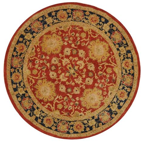 Safavieh Anatolia Red Navy 8 Ft X 8 Ft Round Area Rug Rugs 8 Ft