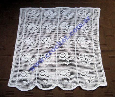 cortina  motivo floral en tejido crochet ideas  el hogar cortinas de ganchillo