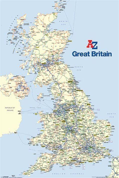 printable road map of great britain a z great britain major road map of the uk wall poster
