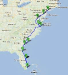 us map beaches east coast road trip along the east coast of usa