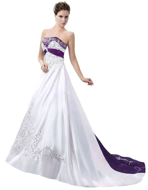 White Purple Dress gown purple and white wedding dresses wedding gown