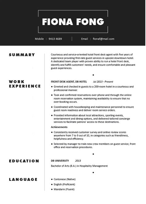 outstanding resume format hotel industry fancy sle hospitality resume crest resume exles by