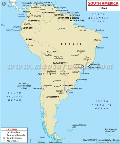 map of south america with cities south america the fourth largest continent of the world