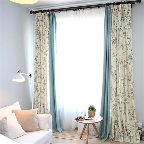american country style living room bedroom linen cotton blue and white botanical print linen cotton blend country
