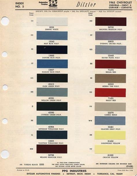 auto paint codes 1965 color codes el camino central