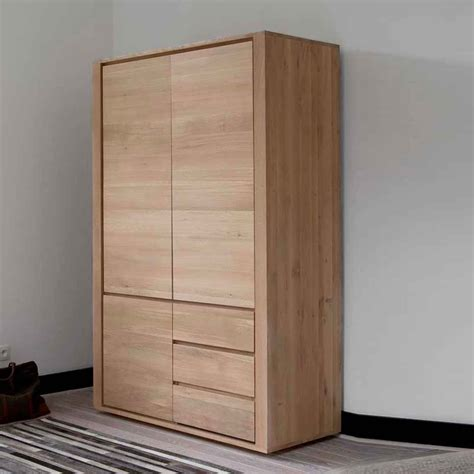 wooden bedroom wardrobes ethnicraft oak shadow dresser 3 doors 2 drawers
