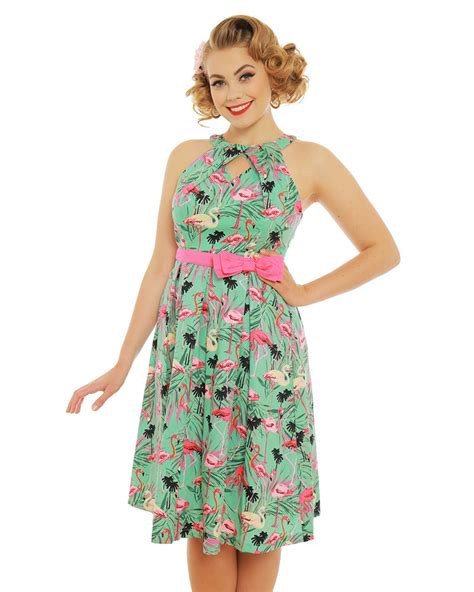 cotton swing dress cherel green flamingo print cotton swing dress