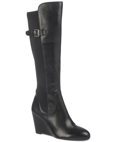 franco sarto obelisk to the knee wedge boots in black lyst