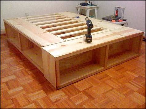 size bed frame with storage plans woodworking diy