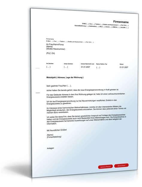 Vorlage Anschreiben Mieter Informationsauskunft Energieausweis Vorlage Zum