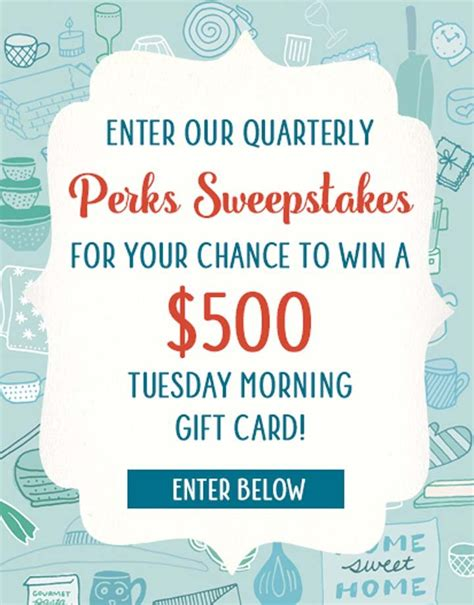 Tuesday Morning Gift Card - tuesday morning perks card sweepstakes sweepstakes pit