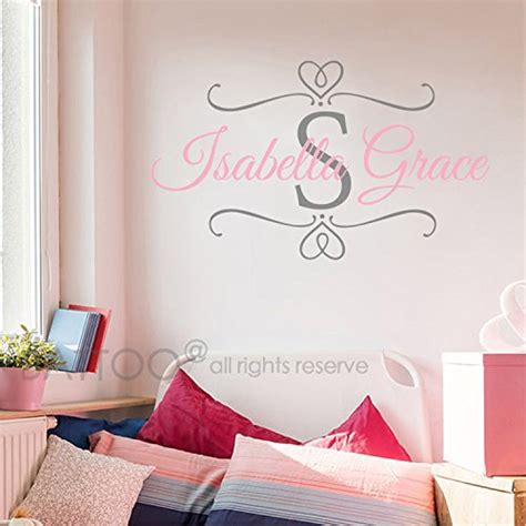 Monogram Wall Decals For Nursery Monogram Battoo Nursery Baby Name Initial Wall Decal Custom Name Decals Monogram