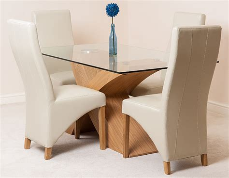 Oak And Glass Dining Table And Chairs Valencia Oak Small 160cm X 90cm Glass Dining Table 4 Lola Ivory Leather Chairs Ebay