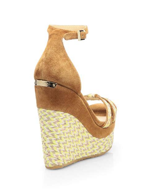 Wedges Jm 30 1 lyst jimmy choo promise suede woven espadrille wedge sandals in black