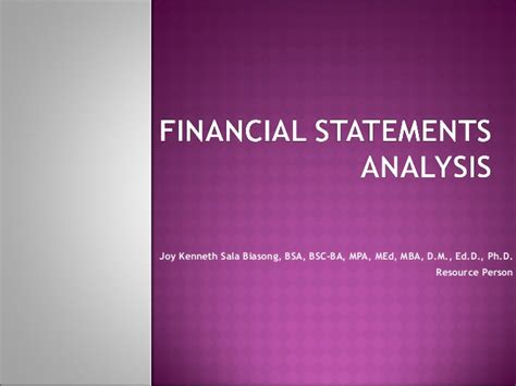 Mba 520 Financial Statement Analysis by Financial Statements Analysis For Non Accountants