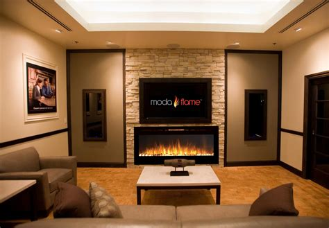 In The Wall Electric Fireplace by Moda 50 Quot Cynergy Pebbles Built In Wall Mounted