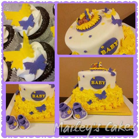 Purple And Yellow Baby Shower Ideas by Yellow And Purple Butterfly Themed Baby Shower Cake With