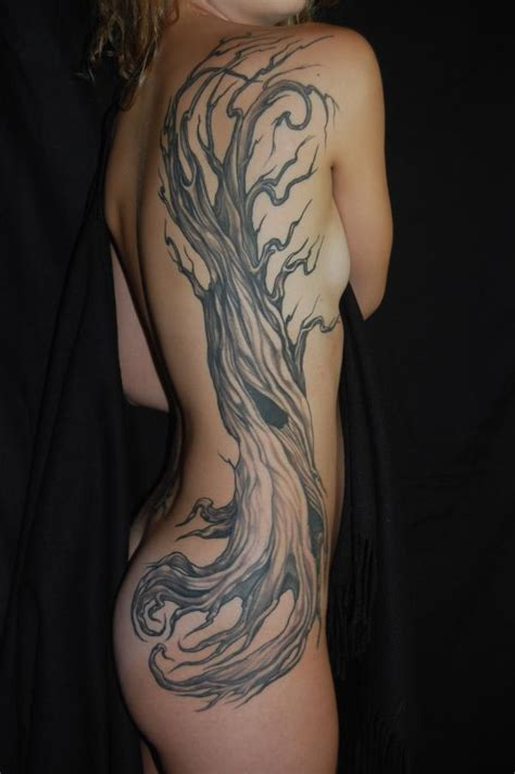 tree side tattoo deer antlers and chest design 171 inked