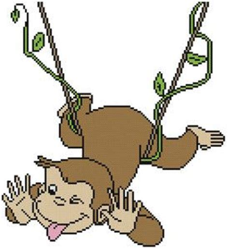 curious george swinging cross stitch pattern color curious george monkey cartoon