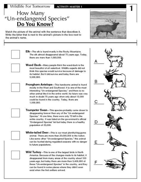 Endangered Species Worksheet by Endangered Species Worksheets Lesupercoin Printables