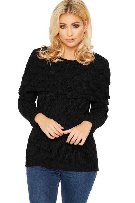 Ca161 New Rope Knit Top womens bardot jumper top shoulder cable knit sleeve plain new ebay