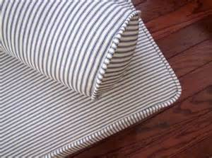Daybed Upholstered Mattress Cover Piped Daybed Mattress Cover Blue Ticking Stripe Slipcover