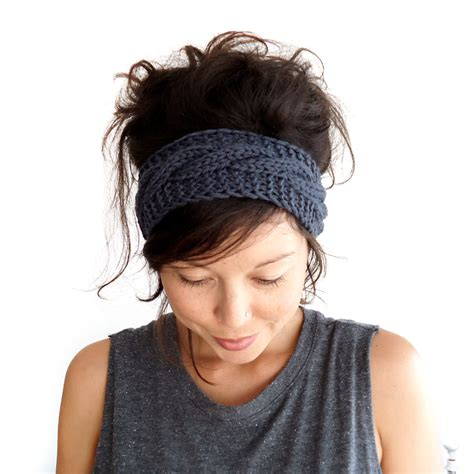 knitted headband cable knit headband in charcoal grey 100 merino wool
