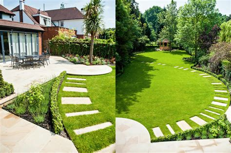 Large Suburban Garden Desigened With York Stone Terrace Garden Design Ideas For Large Gardens