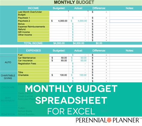 monthly budget spreadsheet household money tracker