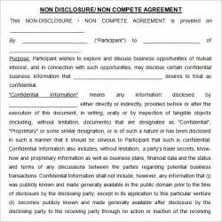 Non Disclosure Agreement Template by Non Compete Agreement 7 Free Pdf Doc
