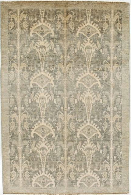 Modern Area Rugs 6x9 Grey Ikat Area Rug With Border 6x9 Contemporary Rugs By Rugknots Rugs