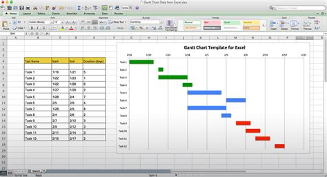 Excel Template Gantt Chart Calendar Monthly Printable Gantt Chart Template For Project Management