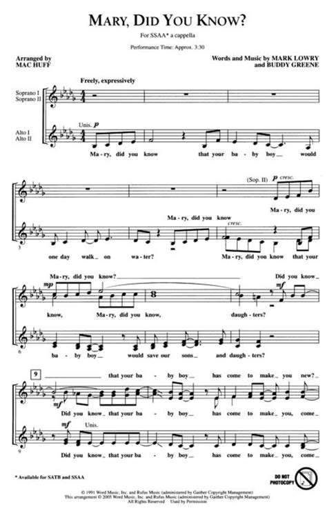 printable lyrics mary did you know sheet music mary did you know ssaa ssaa a cappella