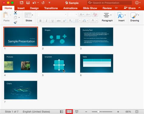 Powerpoint Outline View Mac by Slide Sorter View In Powerpoint 2016 For Mac