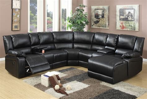 Sectional With Recliner Joshua Black Leather Recliner Sectional