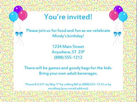 birthday invites templates free birthday invitation templates