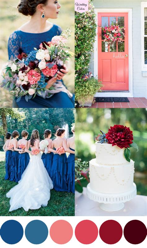 wedding colors a royal blue coral cranberry wedding palette wedding