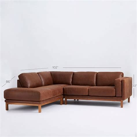 chaise sectional leather dekalb leather 3 piece chaise sectional west elm