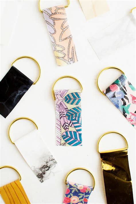 How To Make Paper Keychains - diy contact paper keyrings contact paper fabric scraps